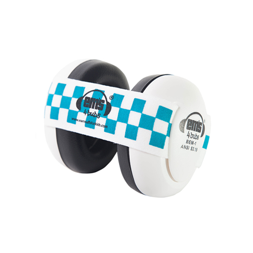 White Ems for Bubs Baby Earmuffs - Blue/White
