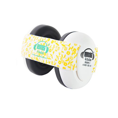 White Ems for Bubs Baby Earmuffs - Lemon Floral