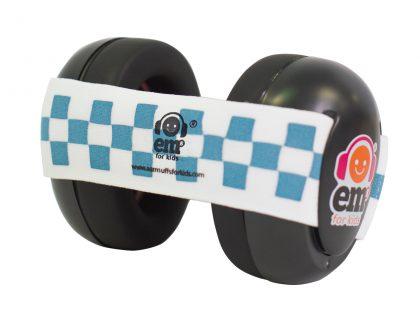 Ems for Kids Baby Earmuffs (BLACK) - Blue & White Headband
