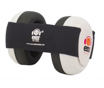 Ems for Kids Baby Earmuffs (WHITE) - Black Headband