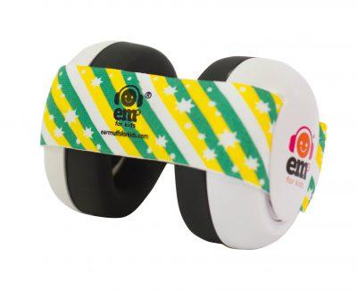 Ems for Kids Baby Earmuffs (WHITE) - Green n Gold Headband