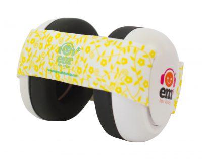 Ems for Kids Baby Earmuffs (WHITE) - Lemon Floral Headband