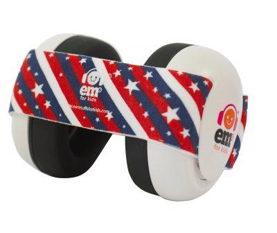 Ems for Kids Baby Earmuffs (WHITE) - Stars & Stripes Headband